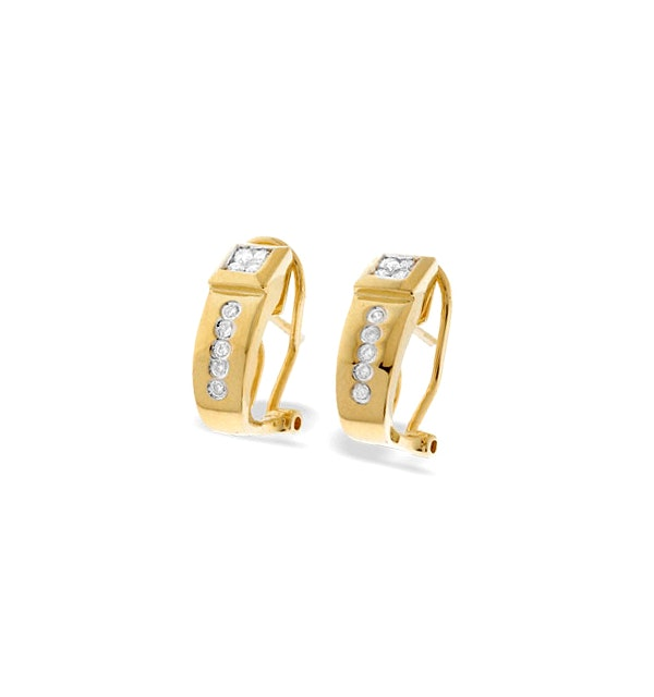 9K Gold Diamond Design Earrings (0.22ct) - image 1