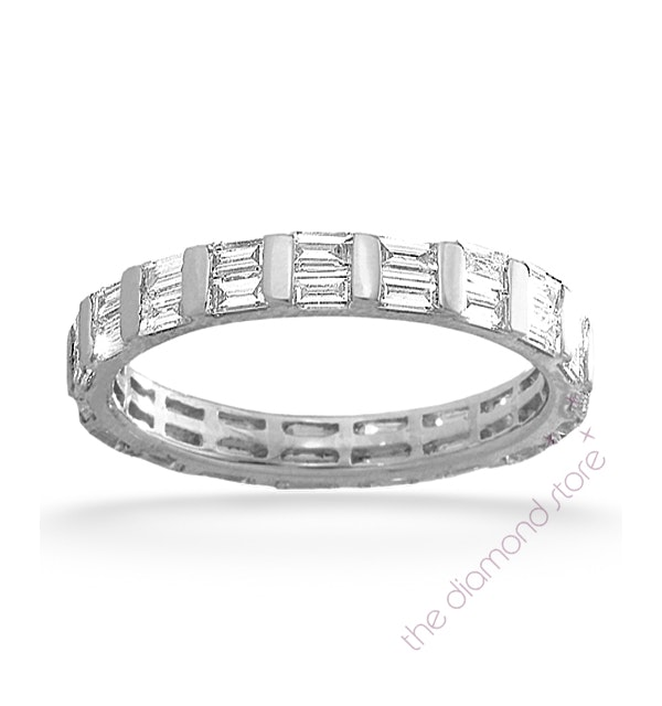 Mens 2ct H/Si Diamond 18K White Gold Full Band Ring - image 1