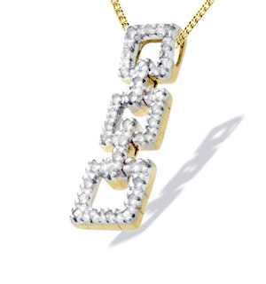9K Gold Diamond Square Design Pendant (0.41ct)