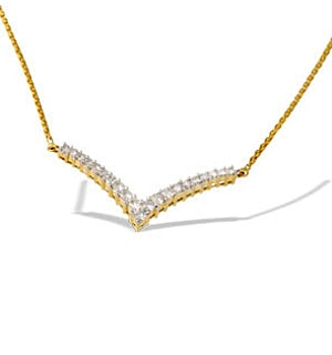 9K Gold Diamond Wishbone Necklace (0.50CT)