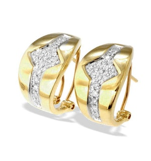 9K Gold Diamond Detail Earrings(0.33ct)