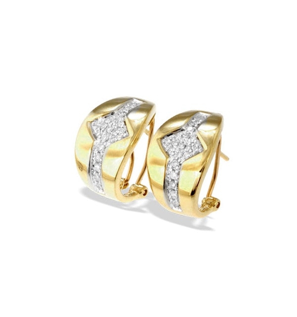 9K Gold Diamond Detail Earrings(0.33ct) - image 1