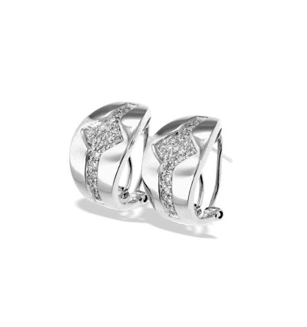 9K White Gold Diamond Detail Earrings(0.33ct) - image 1