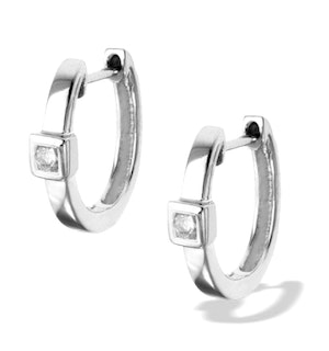 Diamond 0.09ct 9K White Gold Earrings - RTC-H3538