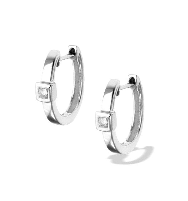 Diamond 0.09ct 9K White Gold Earrings - RTC-H3538 - image 1