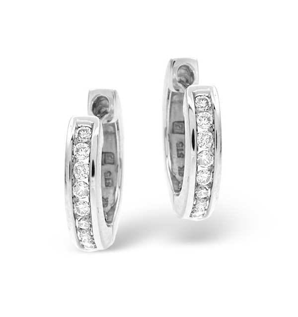 Diamond Hoop Earrings 0.20ct 9K White Gold - image 1