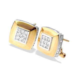 9K Gold Square Diamond Detail Earrings
