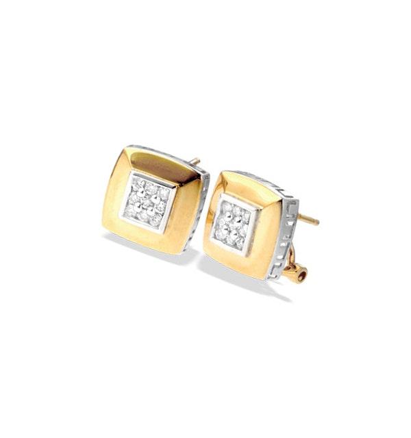 9K Gold Square Diamond Detail Earrings - image 1