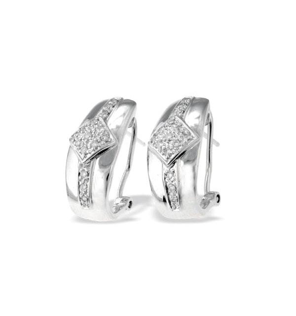 9K White Gold Diamond Design Earrings (0.25ct) - image 1