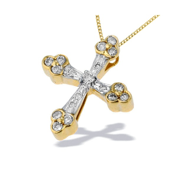 9K Gold Detailed Design Diamond Pendant (0.29ct) - image 1