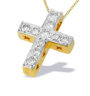 9K Gold Diamond Cross Pendant with Star Detail(0.22ct)