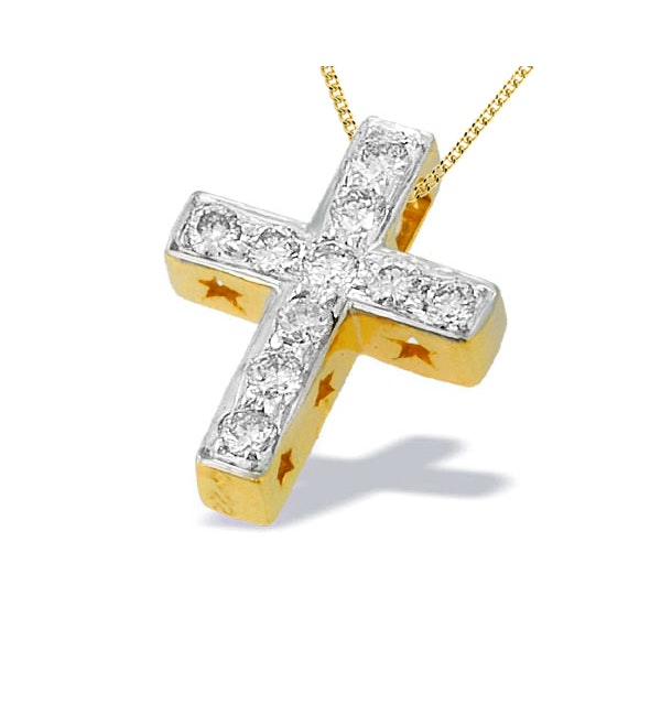 9K Gold Diamond Cross Pendant with Star Detail(0.22ct) - image 1