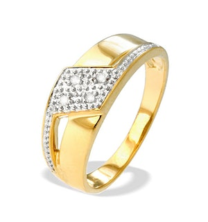 9K Gold Diamond Design Ring(0.04ct)