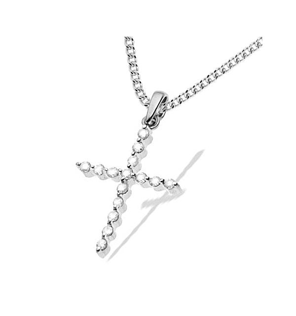 9K White Gold Diamond Cross Pendant (0.32ct) - image 1