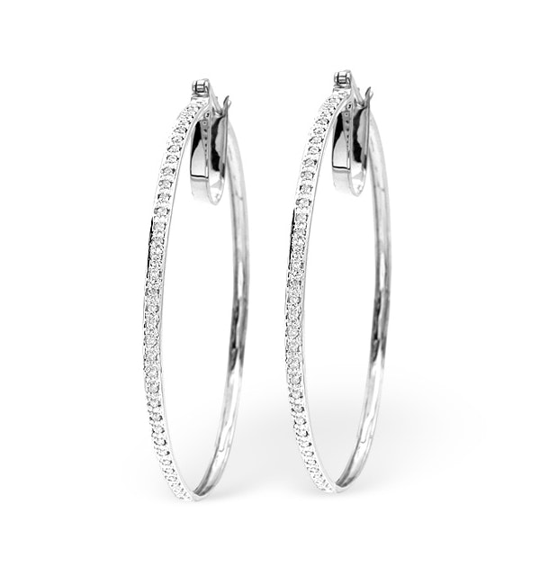 Hoop Earrings 0.40ct Diamond 9K White Gold W2 X L48mm - image 1