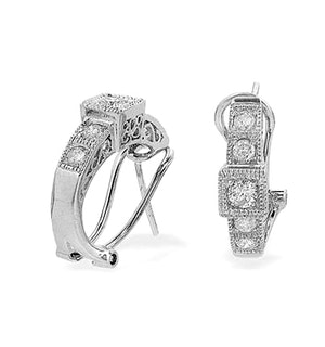 9K White Gold Diamond Huggy Earrings (0.60ct)