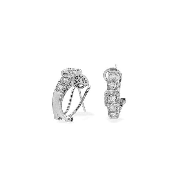9K White Gold Diamond Huggy Earrings (0.60ct) - image 1