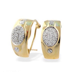 9K Gold Diamond Oval Detail Earrings (0.25ct)
