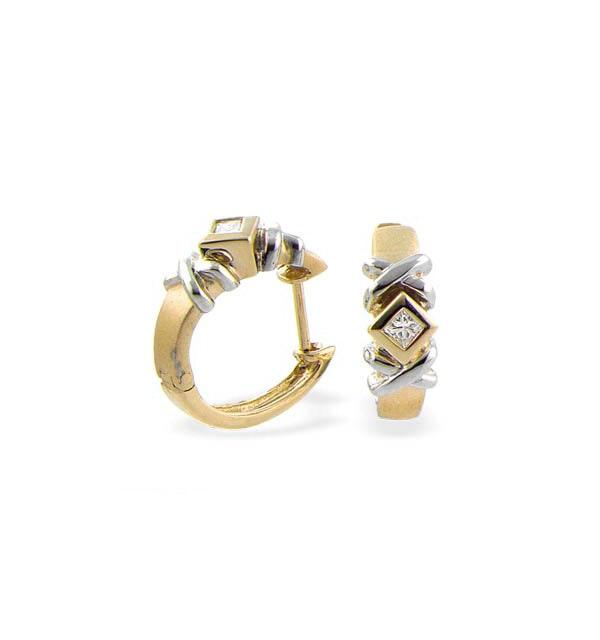 9K Gold Diamond Huggie Earrings - image 1