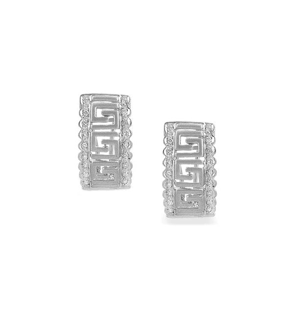 Diamond 0.25ct and 9K White Gold Earrings - RTC-H3611 - image 1