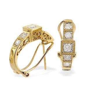 9K Gold Diamond Detail Huggy Earrings (0.60ct)