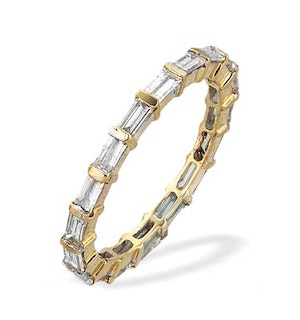 9K Gold Baguette and Bar Diamond Eternity Band - Size J Only