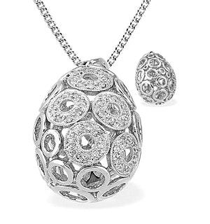 9K White Gold Diamond Round Detail Egg Pendant (0.25ct)