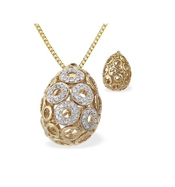 9K Gold Diamond Circle Detail Egg Pendant (0.25ct) - image 1