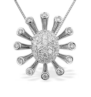 9K White Gold Diamond Cluster Flower Flare Pendant (0.90ct)