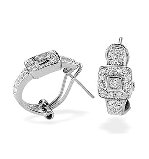 9K White Gold Diamond Square Detail Earrings