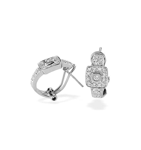 9K White Gold Diamond Square Detail Earrings - image 1