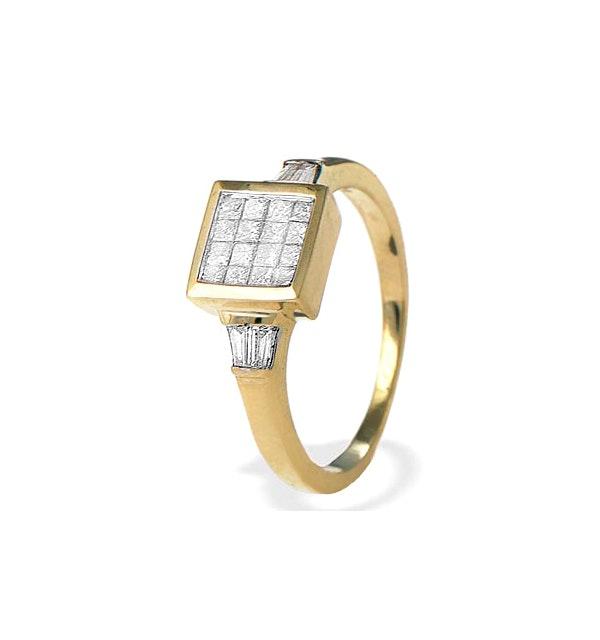 9K Gold Princess and Baguette Diamond Ring - image 1