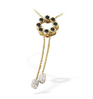 9K Gold Diamond and Sapphire Drop Necklace