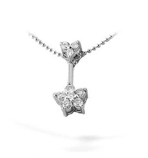 9K White Gold Diamond Cluster Drop Necklace
