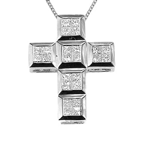 9K White Gold Diamond Cross Pendant (0.56ct)