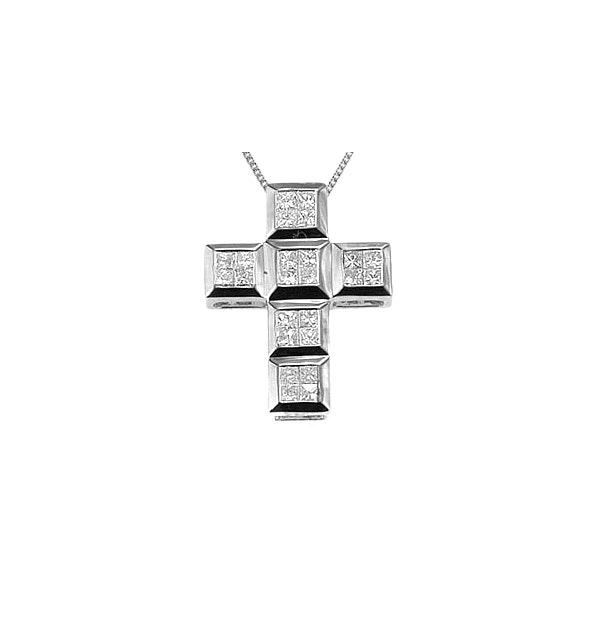 9K White Gold Diamond Cross Pendant (0.56ct) - image 1
