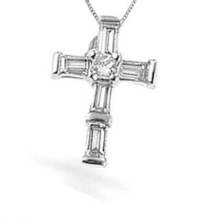 9K White Gold Diamond Cross Pendant (0.25ct)