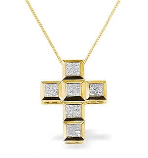 Diamond 0.56ct and 9K Gold Cross Pendant - RTC-G3031