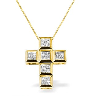 Diamond 0.56ct and 9K Gold Cross Pendant - RTC-G3031