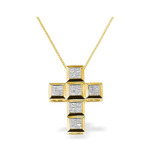 Diamond 0.56ct and 9K Gold Cross Pendant - RTC-G3031 - image 1