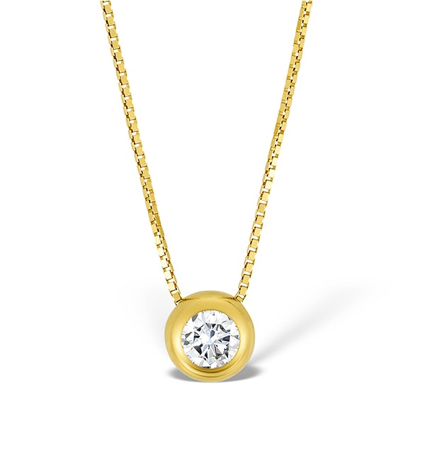9K Gold Diamond Single Stone Rubover Necklace - image 1