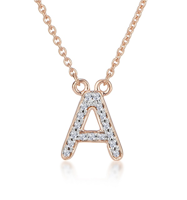 Initial 'A' Necklace Diamond Encrusted Pave Set in 9K Rose Gold - image 1