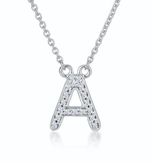 Initial 'A' Necklace Diamond Encrusted Pave Set in 9K White Gold