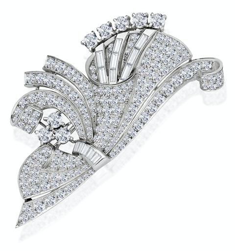 Vintage Platinum 5ct Diamond Brooch - image 1