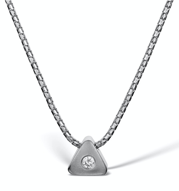 Diamond 0.05ct 9K White Gold Necklace - RTC-D3250Y - image 1