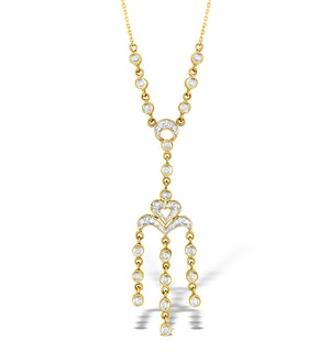 9K Gold Diamond Pave Style Drop Necklace