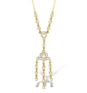 9K Gold Diamond Pave Style Drop Necklace