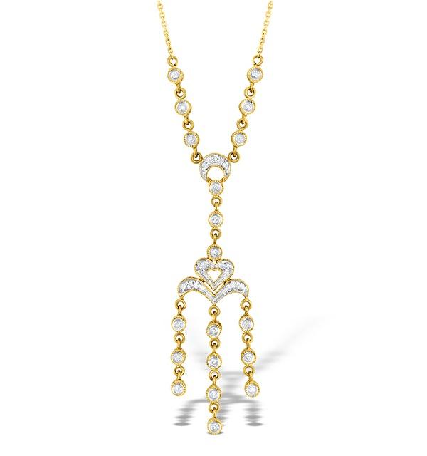 9K Gold Diamond Pave Style Drop Necklace - image 1