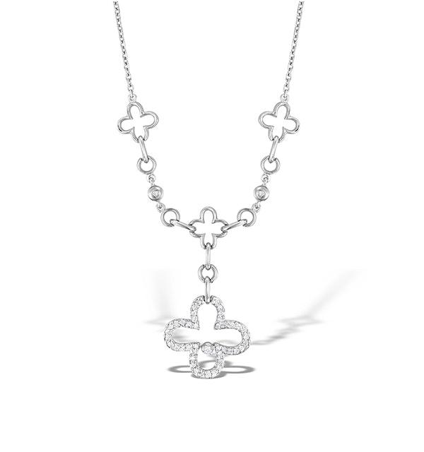 18K White Gold Diamond Link Design Necklace - image 1