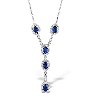 Sapphire 6 x 4 mm And Diamond 9K White Gold Necklace